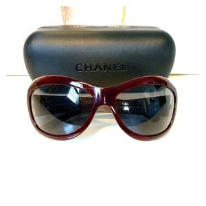 Chanel Authentic Woman's Sunglasses in Maroon